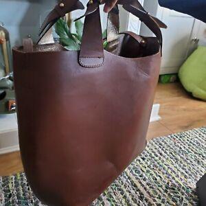 Zara Buffalo Leather Large Tote Bag Shoulder Shopper Bag Dark Brown