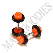 X124 Fake Cheater Illusion Faux Ear Plugs 16G Bar 6G = 4mm Neon Orange 2pcs SALE