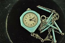 STUNNING VINTAGE LADIES BUCHERER ENAMELED HAND PAINTED MARCASITE NECKLACE WATCH