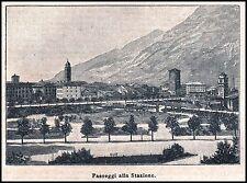 STAMPA 1893 TRENTO PANORAMA PASSEGGI ALLA STAZIONE INCISIONE XILOGRAFIA TRENTINO
