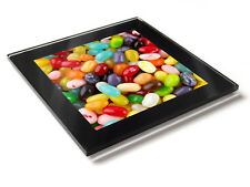 JELLY BEANS Retro Sweets Premium Glass Table Coaster with Gift Box