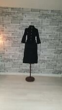 Size UK 8 EU 36 Karen Millen Black Silver Military Cargo Belted Shirt Midi Dress