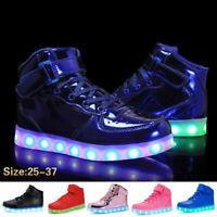 High Top 9 Colors LED Night Light Luminous Shoes Kids Sneakers Women Men Shoes