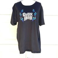 Guitar Hero XL Black Blue Flames Tee T-shirt White Spell-out
