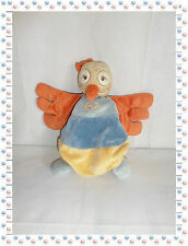 T - Doudou Semi Plat Marionnette Oiseau Bleu Orange Jaune Beige Noukies Noukie's