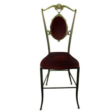 Vintage Chiavari Chair Brass Hollywood Regency Italian Red Fabric Ornate