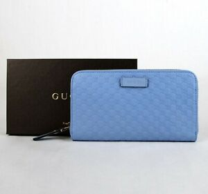 Gucci Women's Mineral Blue Microguccissima Leather Zip Around Wallet 449391 4503