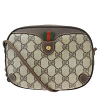 Authentic GUCCI GG Pattern Sherry Mini Shoulder Bag PVC Leather Brown 37MG358