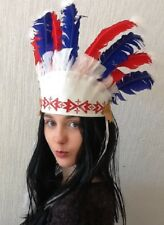 Red Indian Squaw Headdress With Feathers. Next day UK Dispatch