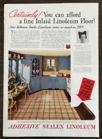 1937 Adhesive Sealex Linoleum Print Ad Great Period Kitchen Illustration