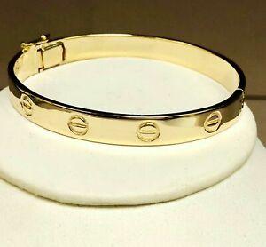 14k solid yellow gold nail head love design bangle bracelet 8mm 30 grams 7inch