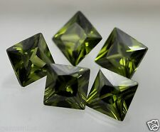 44.15 CT Green Cubic Zircon 10x10x5.80MM 5 Pcs  A+++ Quality Wholesale GemW241
