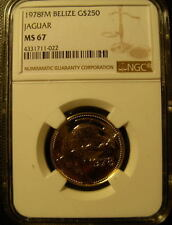 Belize 1978FM Gold $250 NGC MS-67 Jaguar Mintage - 200