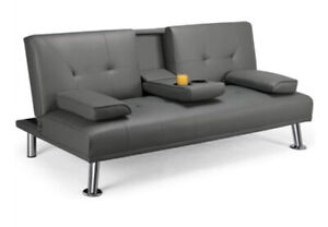 LuxuryGoods Modern Faux Leather Futon Convertible w Pillow & Cup Holders