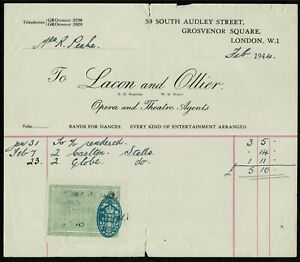 UK 1944 Lacon and Ollier, Opera and Theatre agents. Receipt