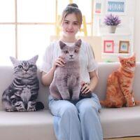 Realistic Cat Pillow Soft Plush Stuffed Animal Cushion Decor Kids Children Gift