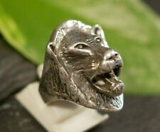 Tierischer 925 Sterling Silber Ring Groß Löwe Raubtier Raubkatze Rocker Biker