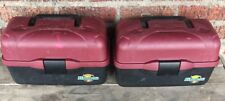 lot of (2) FLAMBEAU 2 tray TACKLE BOX BOXES FISH FISHING LURE BAIT red/black