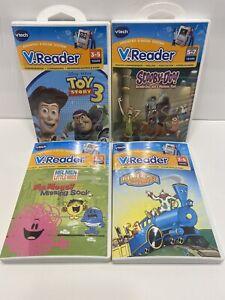 4 Vtech V.Reader Game Cartridges Toy Story 3 Scooby Doo Little Engine Mr Messy