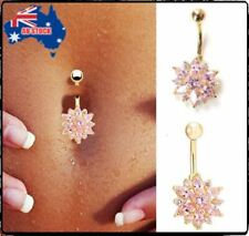 Fashion Women Belly Button Rings Navel Body Piercing Crystal Flower Jewelry