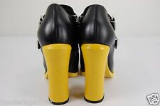 SUPER GORGEOUS!!!  FENDI HIGH HEEL LEATHER BLACK&YELLOW ANKLE BOOTS EU 36 US 6