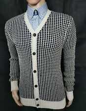 All Saints Men's Cardigan Cable Knit Black Beige Sweater Size Medium RRP£110