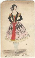 *SEXY GOLD RUSH TEMPTRESS LOLA MONTEZ MAGNIFICENT ORIGINAL 1852 WATERCOLOR*