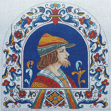 Handpainted Needlepoint Canvas Renaissance Male Portrait in Profile by Creative