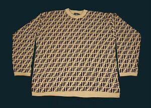 Vintage 90s Fendi Sweater Monograms Size XL 100% Authentic