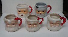 Lot Of 5 Vintage Santa Claus Mugs Winking Eyes Ceramic Japan