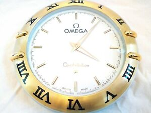 Omega Constellation official dealer wall clock steel and gold colour genuine 10""