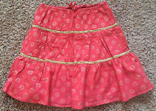 EUC Old Navy Coral Gold Tiered Cotton Girls Skirt Large 10 12
