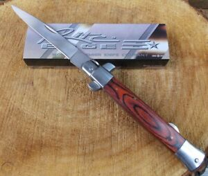 """New 10.5"""" Huge Switch Stiletto Style Folding Pocket Knife Stainless Steel Blade"""