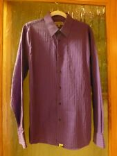 Express Fitted Stretch Cotton  Purple Striped L/S Casual Button Shirt Size L