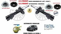 FOR FORD FIESTA 1.4 AUTO 2008-> 2X FRONT SHOCK ABSORBER SET + MOUNTING + BEARING