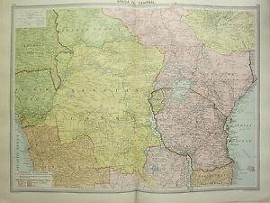 1920 LARGE MAP AFRICA CENTRAL ~ BELGIAN CONGO UGANDA ANGOLA EUROPEAN POSSESSIONS