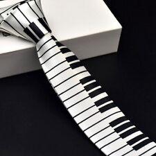 Men's Black & White Piano Keyboard Necktie Tie Classic Slim Skinny Music Tie HM