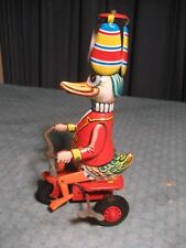 "VINTAGE WIND UP DUCK ON THE TRICYCLE WEST GERMANY TIN LITHO WORKING ""LOOK"""