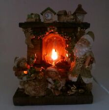 Stunning Christmas Ornament With Santa & Kids In front of Light Up Fireplace NEW