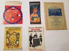 Vintage Bartender Guide Cocktails Drinks Adult Beverage Themed Brochures Lot
