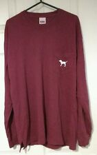 BNWT VICTORIA'S SECRET PINK Maroon x-Small Long Sleeve Tee Maglione Top UK 6-8 XS