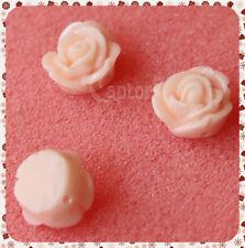 4 Roselline ROSA ANTICO LUCIDE ROSE PERLINE PERLE FIORI IN RESINA CABOCHON 1,...