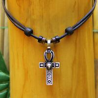Lederkette Halskette Ägyptisches Kreuz Henkelkreuz Schleifenkreuz Anch Ankh Crux