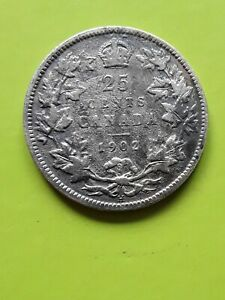 1902 H Canada 25 Cents. KING EDWARD VII silver coin. KM#11