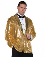 Disco Musical Jazz Rockstar Rocker Pimp Costume Gold Sequin Jacket