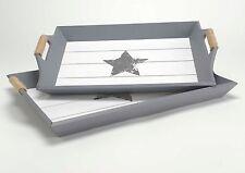 Set de 2 bandejas de madera con dibujo de estrella