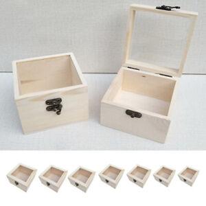 Natürliche Schmuckkasten Holzschatulle Holzkästchen Glasdeckel Holzkiste zum