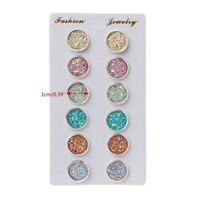 6 Pairs/set Colorful Shiny Ear Stud Austrian Crystal Round Earrings Jewelry Gift