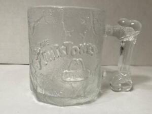 McDonalds Flintstones Glass Mug Cup 1993 Clear Frosted Pre-Dawn RocDonalds