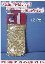 PORTA POSATE DECORATO ORO 12 Pz. con Stampe Gold Idea Regalo PASQUA NATALE